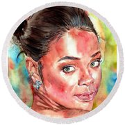 Rihanna Portrait Round Beach Towel
