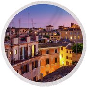 Round Beach Towel featuring the photograph Rione Pigna's Rooftops by Fabrizio Troiani
