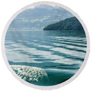 Ripples On Lake Lucerne Round Beach Towel