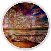 Rising Tide On The Hudson Montage Round Beach Towel
