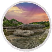 River Erosion At Sunset Round Beach Towel