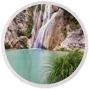 River Neda Waterfalls Round Beach Towel