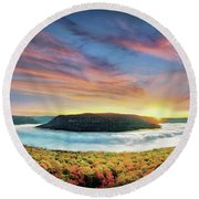 River Of Fog Round Beach Towel