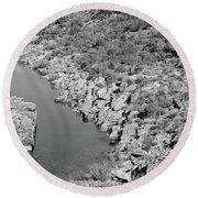 River On The Rocks. Bw Version Round Beach Towel