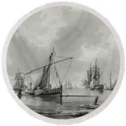 River With Shipping, 18th Century Round Beach Towel