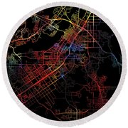 Riverside California Watercolor City Street Map Dark Mode Round Beach Towel
