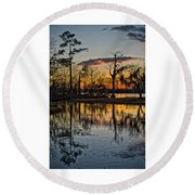 Riverside Sunset Round Beach Towel