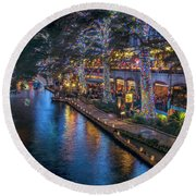 Round Beach Towel featuring the photograph Riverwalk Christmas Lights by Steven Sparks