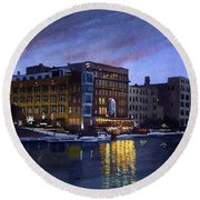 Riverwalk Nocturne Round Beach Towel