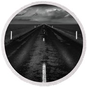 Road One, Iceland Round Beach Towel