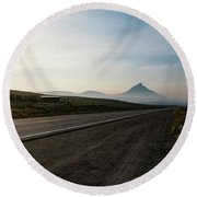 Round Beach Towel featuring the photograph Road Through The Rockies by Nicole Lloyd