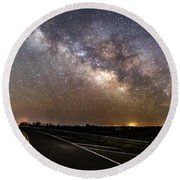 Road To Milky Way Round Beach Towel