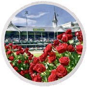 Road To The Roses Round Beach Towel
