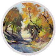 Round Beach Towel featuring the painting Roadside Attraction by Steve Henderson