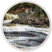 Round Beach Towel featuring the photograph Roaring Gooseberry Falls by Susan Rissi Tregoning