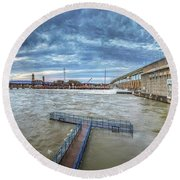 Roaring River Below Chickamauga Dam Round Beach Towel