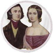 Robert Schumann And Clara Schumann  Round Beach Towel