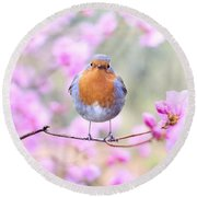 Robin On Pink Flowers Round Beach Towel