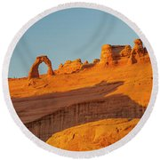 Rock Formation With Delicate Arch Round Beach Towel