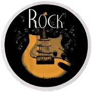 Rock Guitar Music Notes Round Beach Towel