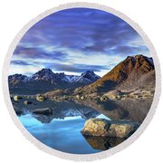 Rock Reflection Landscape Round Beach Towel