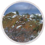 Round Beach Towel featuring the photograph Rock Snow Sky by Jon Burch Photography