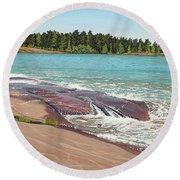 Round Beach Towel featuring the painting Rock Washed by Kenneth M Kirsch