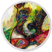Rocket The Dog Round Beach Towel