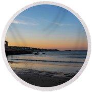 Rockport Front Beach Sunset Rockport Ma Golden Glow 2 Round Beach Towel
