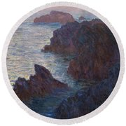 Rocks At Belle-lle, Port-domois, 1886 Round Beach Towel