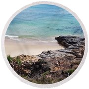 Rocks Sand And Water  Round Beach Towel
