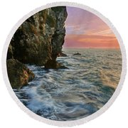 Rocky Cliffs And Waves During Sunset Round Beach Towel