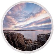 Rocky Coast At Daybreak . Round Beach Towel