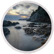Rocky Coast Near Dubrovnik Round Beach Towel