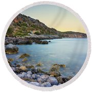 Rocky Coast Near Monemvasia Round Beach Towel