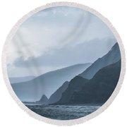 Rocky Coastline In West Wales Round Beach Towel