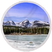 Round Beach Towel featuring the photograph Rocky Mountain Lake by Dawn Richards
