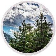 Rocky Mountain Pines Round Beach Towel