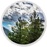 Rocky Mountain Pines Round Beach Towel