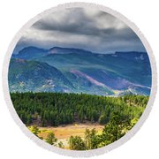 Rocky Mountains - Green Round Beach Towel