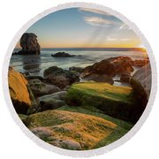 Rocky Pismo Sunset Round Beach Towel