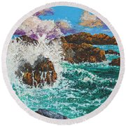 Rocky Splash Round Beach Towel