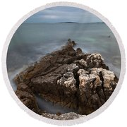 Round Beach Towel featuring the photograph Rocky Triangle by Davor Zerjav