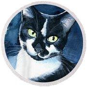Rollie Tuxedo Cat Painting Round Beach Towel