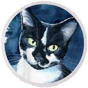 Rollie Tuxedo Cat Painting Round Beach Towel