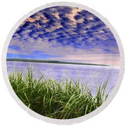 Rolling Blue Sky Over Lake Superior Round Beach Towel