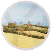 Rolling Hills In Fall Round Beach Towel