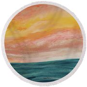 Round Beach Towel featuring the painting Rolling Ocean by Valerie Anne Kelly