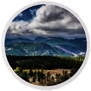 Rolling Rockies Round Beach Towel