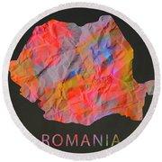 Romania Tie Dye Country Map Round Beach Towel